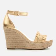 MICHAEL MICHAEL KORS Women's Bella Metallic Leather Wedged Sandals - Pale Gold - US 10/UK 7 - Gold