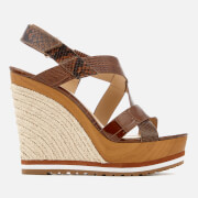 MICHAEL MICHAEL KORS Women's Mackay Embossed Croc/Leather Wedged Sandals - Luggage - US 9/UK 6 - Tan