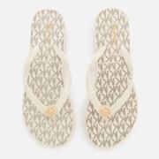 MICHAEL MICHAEL KORS Women's Bedford Stripe Flip Flops - Vanilla - US 10/UK 7 - White