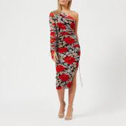 Diane von Furstenberg Women's One Shoulder Ruched Dress - Boswell Black - US 2/UK 6 - Black