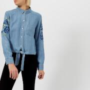 Rails Women's Val Shirt - Medium Vintage Floral Patch - L - Blue