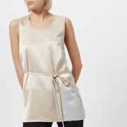 T by Alexander Wang Women's Heavy Drape Satin Top with Stripe Combo - Champagne/Stripe - US 4/UK 8 - Cream