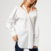 T by Alexander Wang Women's Cotton Poplin Shirt with Neck Twill Tape Detail - White - US 4/UK 8 - White