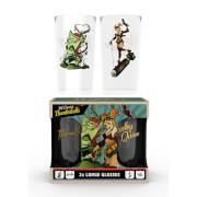 DC Comics Harley and Ivy Bombshells Large Glasses Twin Pack