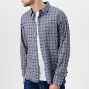 Universal Works Men's Alex Fine Check Long Sleeve Shirt - Navy