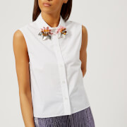Christopher Kane Women's Embroidered Collar Poplin Shirt - White - IT 40/UK 8 - White