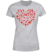 Star Wars Valentine's Heart Montage Women's T-Shirt - Grey