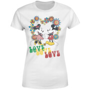 Disney Mickey Mouse Hippie Love Frauen T-Shirt - Weiß