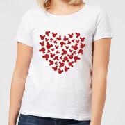 Disney Mickey Mouse Heart Silhouette Women's T-Shirt - White