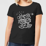 Disney Mickey Mouse Kissing Sketch Frauen T-Shirt - Schwarz