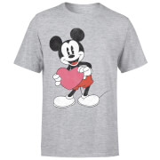 Image of Disney Mickey Mouse Heart Gift T-Shirt - Grey - L - Black