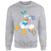 Disney Mickey Mouse Donald Daisy Kiss Sweatshirt - Grey