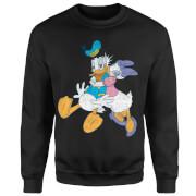 Disney Mickey Mouse Donald Daisy Kiss Sweatshirt - Black