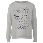 Disney Princess Cinderella All You Need Is Love Women's Sweatshirt - Grey