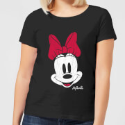 Disney Mickey Mouse Minnie Face Frauen T-Shirt - Schwarz