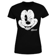 Disney Mickey Mouse Worn Face Women's T-Shirt - Black