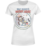 Disney Mickey Mouse Retro Poster Piano Women's T-Shirt - White