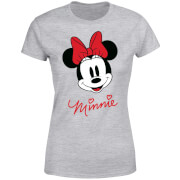 Disney Mickey Mouse Minnie Face Women's T-Shirt - Grey