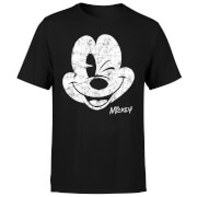 Disney Mickey Mouse Worn Face T-Shirt - Black