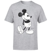 Disney Mickey Mouse Classic Kick B&W T-Shirt - Grey