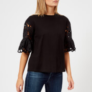See By Chloe Women's Detailed Sleeve T-Shirt - Black - M - Black