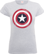 Marvel Avengers Assemble Captain America Distressed Shield Women's T-Shirt - Grey