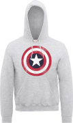 Marvel Avengers Assemble Captain America Distressed Shield Pullover Hoodie - Grey