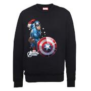Marvel Avengers Assemble Captain America Comic Burst Sweatshirt - Black