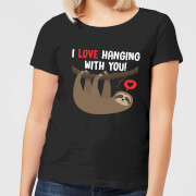 T shirt femme i love hanging with you noir xs noir