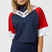 FILA Women's Addi Cut & Sew Crop T-Shirt - Navy/Red/White - L - Blue