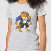 Disney Beauty And The Beast Classic Womens T-Shirt - Grey - XXL - Grey