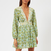 Zimmermann Women's Golden Plisse Mini Dress - Lemonade Acid Floral - 1/UK 10 - Green