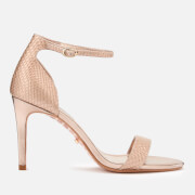 Dune Women's Mortimer Leather Barely There Heeled Sandals - Rose Gold