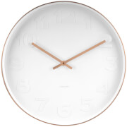 Karlsson Mr. White Wall Clock - White Numbers with Copper Case