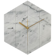 Karlsson Marble Hexagon Wall Clock - White