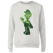 Sweat Femme Super Mario Luigi Silhouette - Nintendo - Blanc
