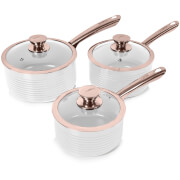 Tower Linear 3 Piece Saucepan Set - White/Rose Gold