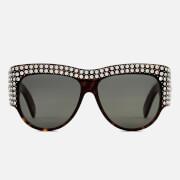Gucci Women's Crystal Oval Sunglasses - Havana/Grey
