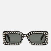 Gucci Women's Pearl Square Sunglasses - Black/Grey