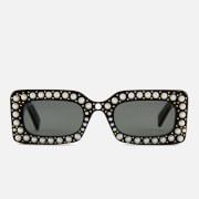 Gucci Women's Pearl Square Sunglasses - Black/Grey