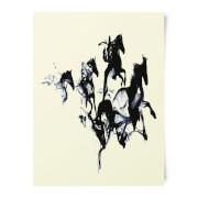 Robert Farkas Black Horses Art Print