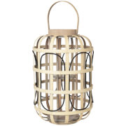 Image of Broste Copenhagen Contrast Bamboo Lantern - Glass Natural