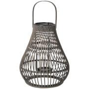 Image of Broste Copenhagen Twist Bamboo T Light Lantern - Dark Grey