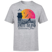 Jaws Welcome To Amity Island T-Shirt - Grey