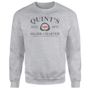 Sweat Homme Les Dents de la mer - Quints Shark Charter - Gris