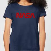 NASA Worm Red Logotype Women's T-Shirt - Navy