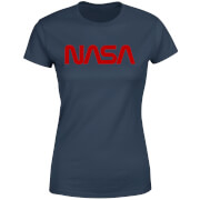 NASA Worm Red Logotype Women's T-Shirt - Navy