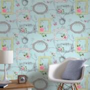 Fresco Sky Blue/Multi Vintage Frame Floral Wallpaper
