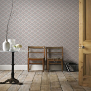 Boutique Taupe/Copper Trifina Geometric Wallpaper