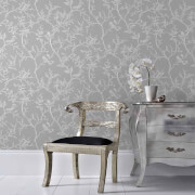 Superfresco Grey/Silver Laos Trail Floral Wallpaper